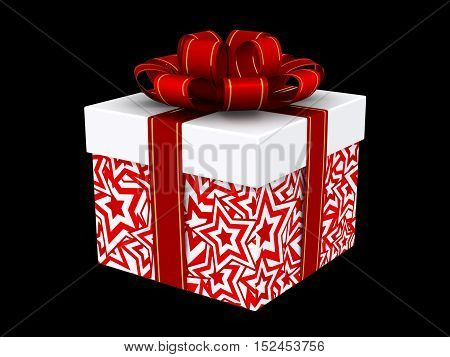 3d Illustration of box with christmas gift isolated on black background