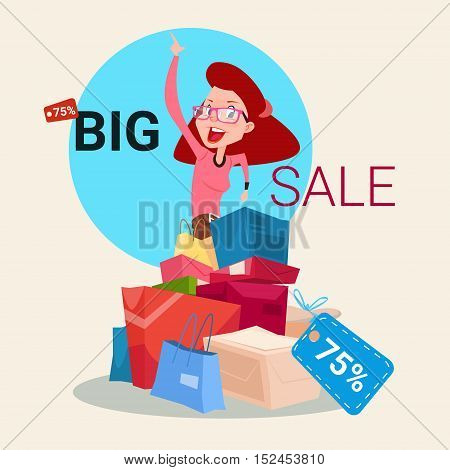 Woman With Shopping Bag Present Box Black Friday Big Sale Banner Vector Illustration