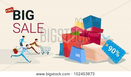 People Run With Shopping Cart Bag Present Box Black Friday Big Sale Banner Vector Illustration