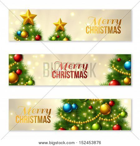 Set of Horizontal Banners with Christmas tree. Colorful baubles and gold star on the top. Vector illustration. Glowing festive background with light beams and sparks. Place for text