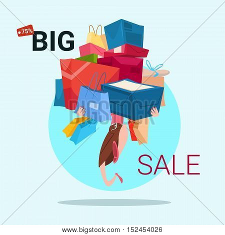 Woman Hold Present Box Stack Black Friday Big Sale Banner Vector Illustration