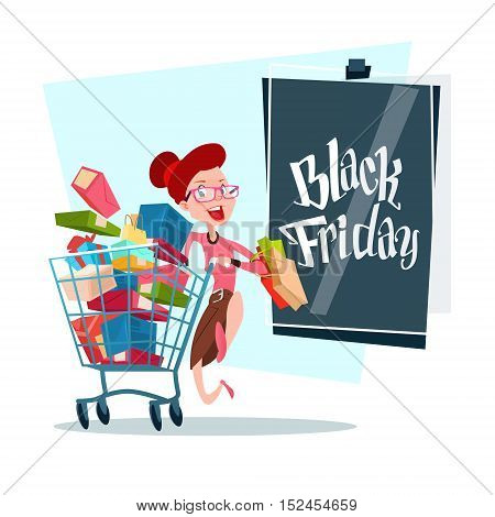 Woman With Shopping Cart Black Friday Big Sale Banner Vector Illustration