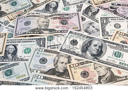 Closeup of assorted American banknotes