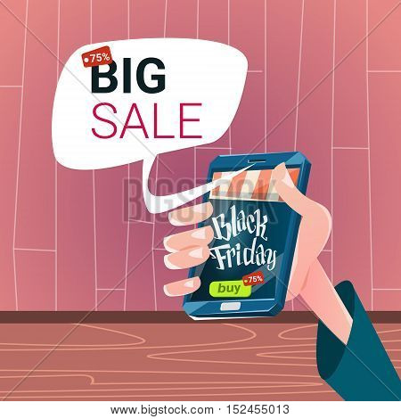 Hand Hold Cell Smart Phone Black Friday Big Shopping Sale Banner Flat Vector Illustration