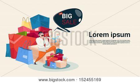 Man Hold Megaphone Black Friday Big Sale Holiday Shopping Banner Vector Illustration