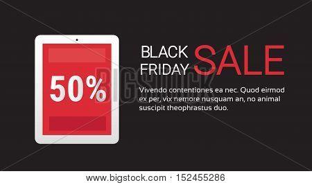Tablet Computer Black Friday Big Shopping Sale Banner Flat Vector Illustration