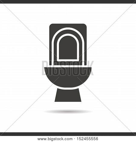 Toilet icon. Drop shadow silhouette symbol. Negative space. Vector isolated illustration