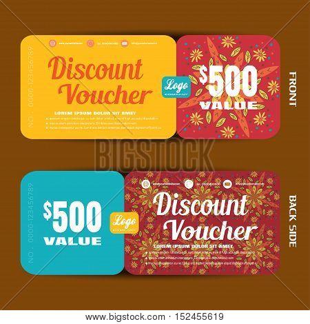 Discount voucher vector illustration in autumn colors background.