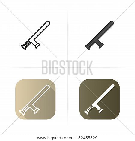 Baton for cleaning icon. Flat design, linear and color styles. Isolated vector illustrations