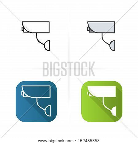 Surveillance camera icon. Flat design, linear and color styles. Isolated vector illustrations