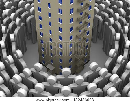 High demand for real estate. Symbols of people lined up in a circle around multistory house on a white surface. The concept of the high demand for real estate. 3D Illustration. Isolated