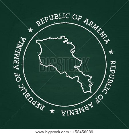 White Chalk Texture Rubber Seal With Republic Of Armenia Map On A Green Blackboard. Grunge Rubber Se