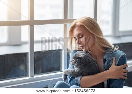 Tender moment. Portrait of pretty blond lady holding her grey cat near big window and gently looking at it.