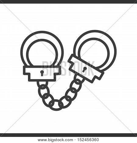 Handcuffs linear icon. Thin line illustration. Vector isolated outline drawing