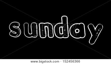 Plastic letters with the word Sunday converted to black and white illustration