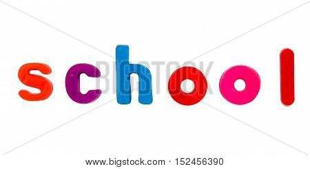 Plastic multicoloured plastic letters with the word School
