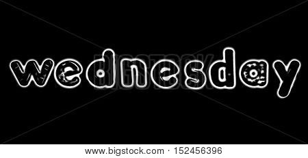 Plastic letters with the word Wednesday converted to black and white illustration