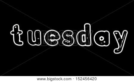 Plastic letters with the word Tuesday converted to black and white illustration