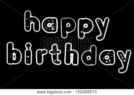 Plastic letters with the words Happy Birthday converted to black and white illustration