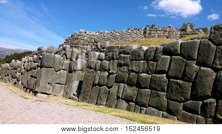 Sacsayhuaman wall fortress, located in Cuzco, this ruins belong to Inca civilization