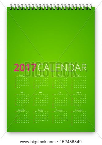 Simple calendar 2017 green template. Week starts from sunday. Vector realistic spiral notepad notebook