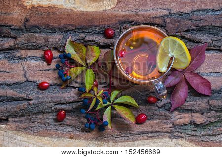 Still Life With Hot Tea From Dogrose And Lemon Autumn Leaves On Vintage Wood Background.