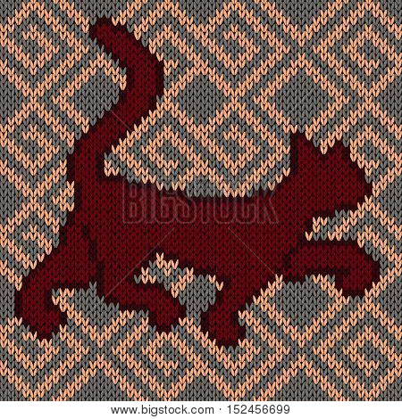 Knitting fabric childish vector seamless pattern with dark red rambling cat over ornamental background