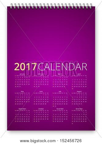 Simple calendar 2017 violet colored template. Week starts from sunday. Vector realistic spiral notepad notebook