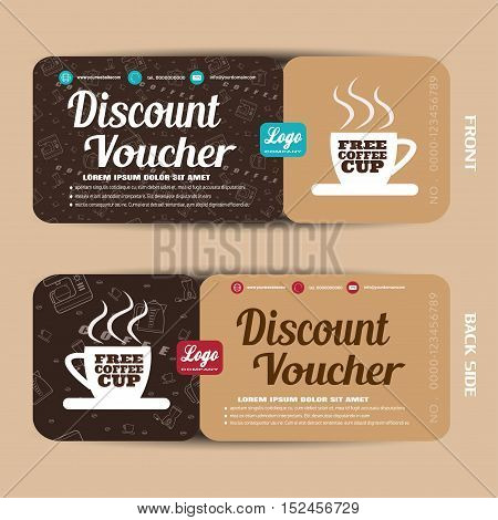 Discount voucher vector illustration to increase sales of coffee.