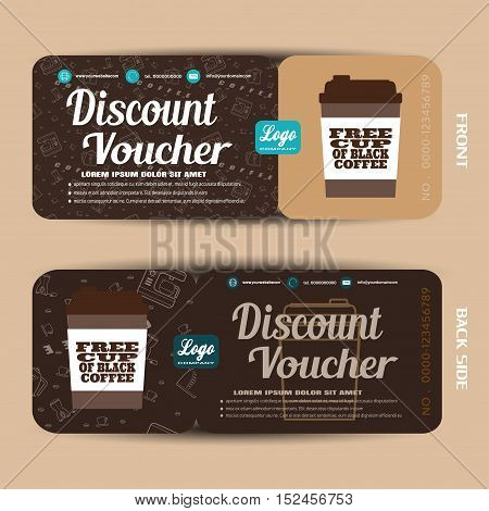 Vector discount voucher to increase sales of coffee.