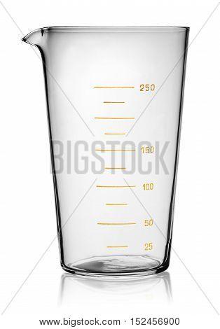 Glass beaker graduated isolated on white background