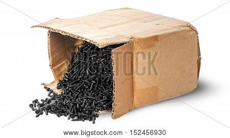 Screws scattered from an old box isolated on white background