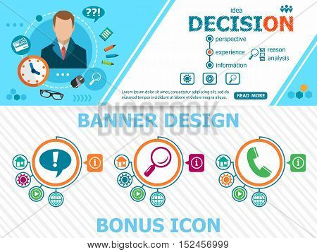 Decision Design Concepts And Abstract Cover Header Background For Website Design.