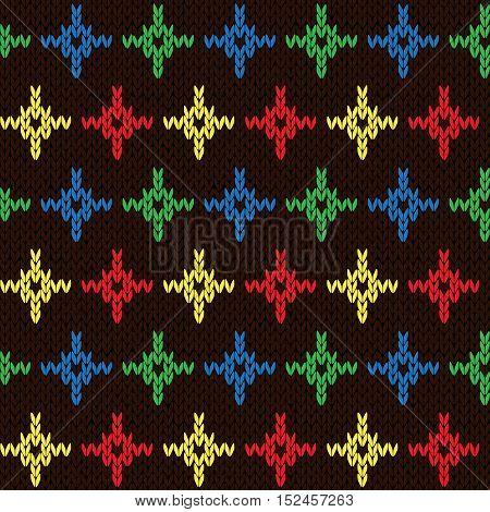 Seamless Knitting Pattern With Color Crosses Over Dark Brown