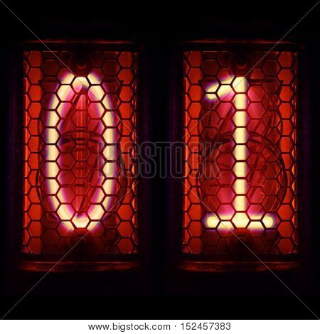 The Nixie tube indicator of the numbers of retro style. Digit 0, 1.