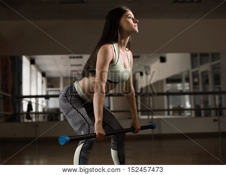 Sexy sporty woman crouches with fitbar back view