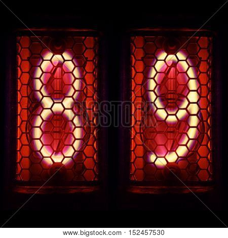 The Nixie tube indicator of the numbers of retro style.  Digit 8, 9