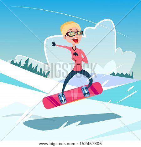 Woman On Hold Snowboard Winter Activity Sport Vacation Snow Mountain Slope Flat Vector Illustration