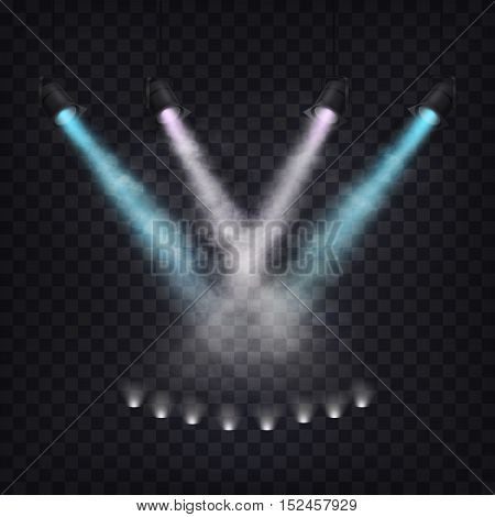 Set of vector scenic spotlights in fog on a dark background