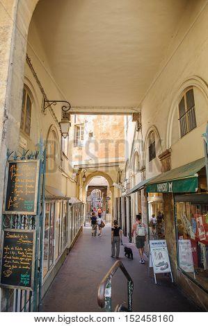 Romantic passage in Place de Verdun in central city of Aix-en Provence Provence France
