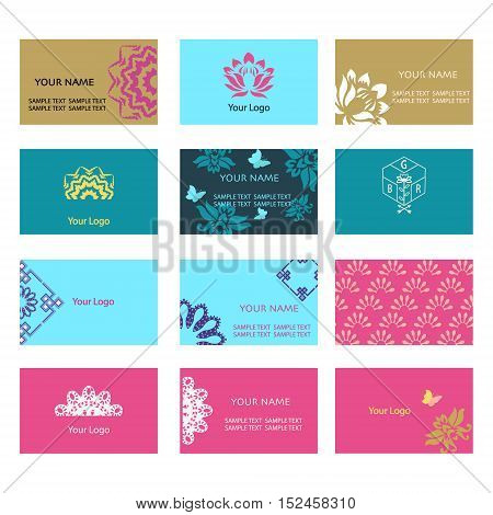 set of business cards templates with floral ornament for greeting invitation card and cover-illustration