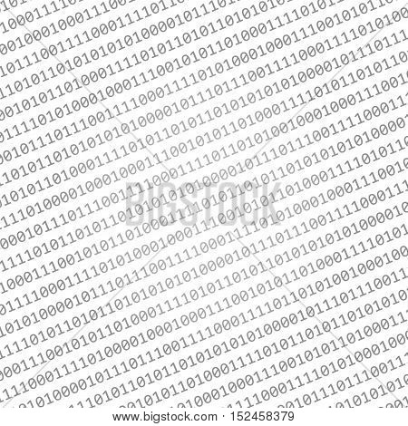 Grey binary code isolated on white background. Computer code vector illustration background.