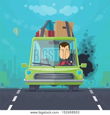 Trendy flat design vehicle sedan car accident after a car accident a broken traffic and surly driver, balloon in the sky trees and silhouette of the city vector illustrations