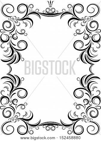 Unusual, Decorative Lace Ornament, Vintage Frame With Empty Place For Your Text. Vector Illustration