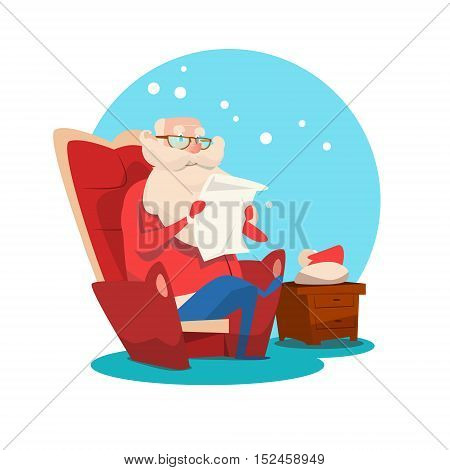 Santa Claus Read Merry Christmas Wish List New Year Celebration Flat Vector Illustration