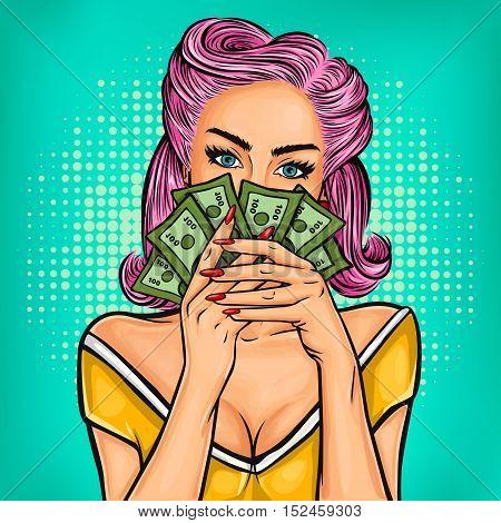 Vector pop art girl with cash in hand