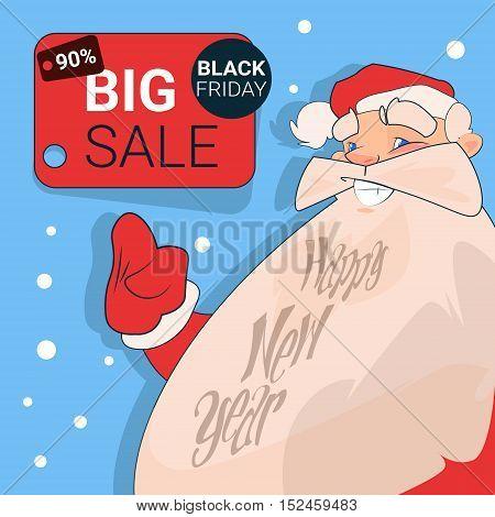 Santa Clause Big Holiday Sale Black Friday Shopping Flat Vector Illustration