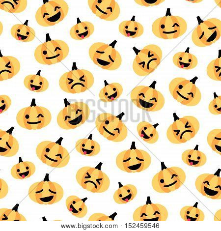 Vector seamless pattern for Halloween with emoji pumpkins at white background