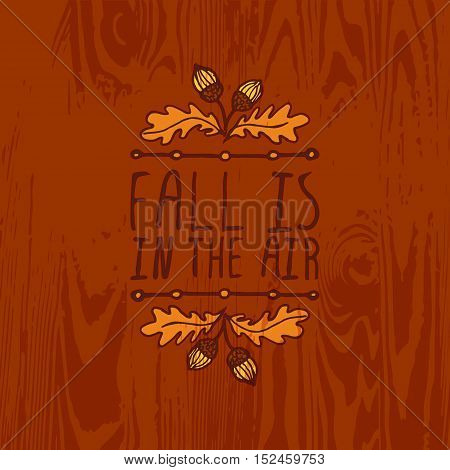 Hand-sketched typographic element with acorns and text on wooden background. Fall is in the air