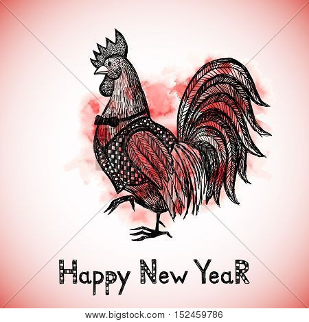 New Year greeting card with hand drawn Red Rooster. Chinese new year 2017 - Rooster Year. Rooster in sketch style. Vector illustration